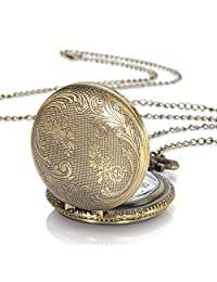 Yesurprise Vintage Steampunk Pocket Watch Retro Bronze Quartz Pendant Watches with Necklace Chain Gift Montre De Poche