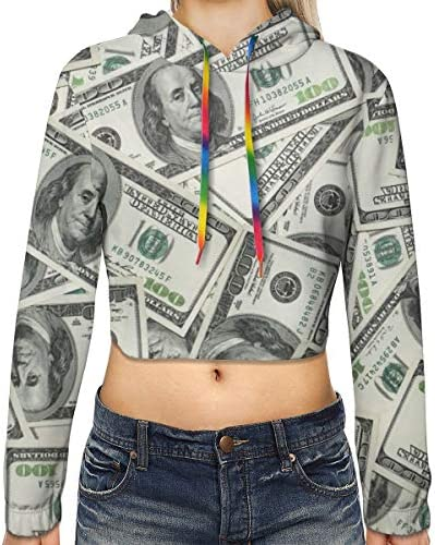ドル柄クロップドパーカー女性の2019ファッション長袖パッチワーククロップトップスウェット用スポーツジムオフィススクール