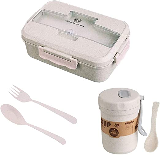 Microwave Bento Wheat Straw Lunch Box Picnic Food Container Nice Wheat K8P4