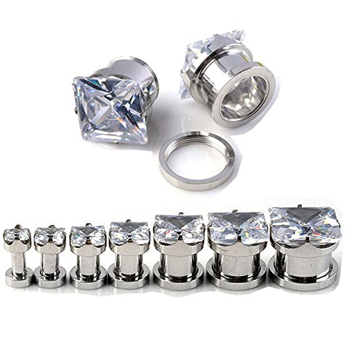 Surgical Steel 316l with clear square Cz Stone Screw Fit Gauges / plugs / tunnels Nickle Free (1 Pair) (10g (2.5mm))