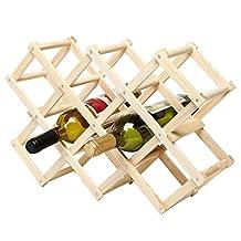 Foldable Wood Wine Rack Wine Holder Storage Display Stand Wood 10-Bottle Wine Rack (Log Color)