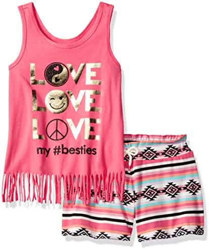The Children's Place Big Girls' Fringe Tank Top and Shorts Set