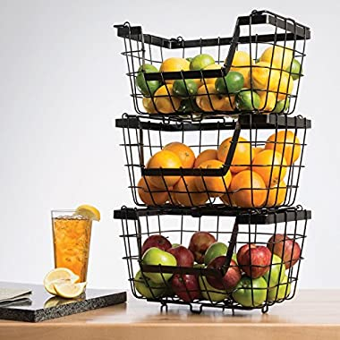 Giftburg 3-Piece 3 Tier Stacking Fruit Utility Multipurpose Stackable Baskets