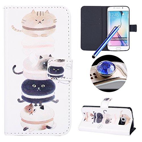 Funda para [Samsung Galaxy S6 Edge] ,ETSUE PU Cuero Cover Case para Samsung Galaxy S6 Edge,Funda de Cuero Pintado de Moda Patrón con la Mariposa Protector de Funda para telefono movil para Samsung Gal Glotón Gato