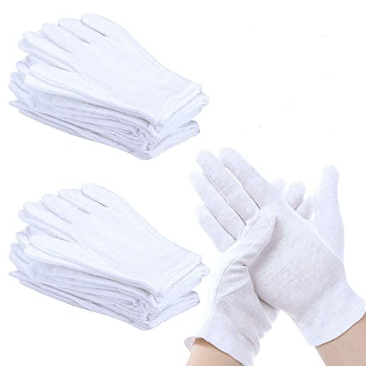 Perfetsell 12 Pares Guantes Blancos, Guantes Algodon Blanco ...