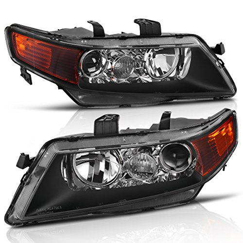 Projector Headlight Assembly for 04 05 Acura TSX with Turn Signal Corner Light, Black Housing Clear Reflector, One-Year Warranty (Passenger And Driver Side) (Warranty Acura Tsx)