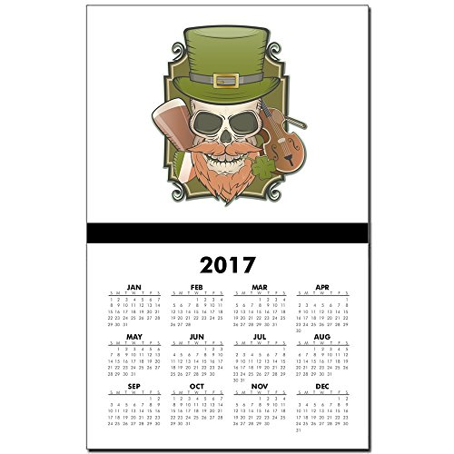 Calendar Print w Current Year St Patricks Irish Skull