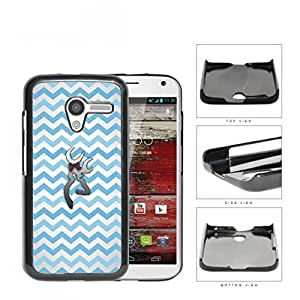 Light Blue and White Chevron Pattern with Silver Deer Buck w/ Bow Motorola (Moto X) Hard Snap on Plastic Cell Phone Case Cover