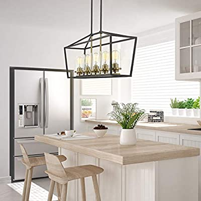 Buy Emliviar Modern 5 Light Kitchen Island Pendant Light Fixture Linear Pendant Lighting Black And Gold Finish With Clear Glass Shade P3033 5lp Online In Indonesia B086296h2q