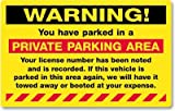 "Warning, You Have Parked in a Private Parking, Fluorescent Stickers, 50 Stickers / Pack, 8"" x 5"" offers"