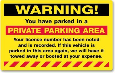 Amazon.com: Warning, You Have Parked in a Private Parking ...