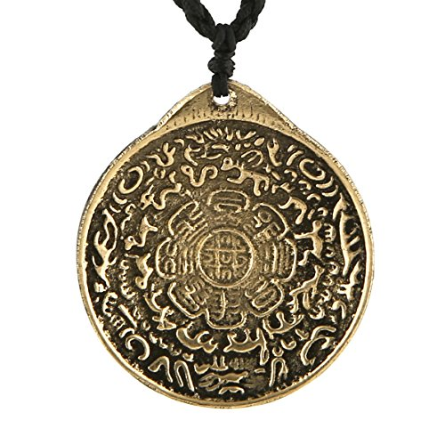 (HZMAN Vintage Tibetan I Ching Spiritual Divination Om Pendant Necklace From Nepal, Yoga Jewelry)
