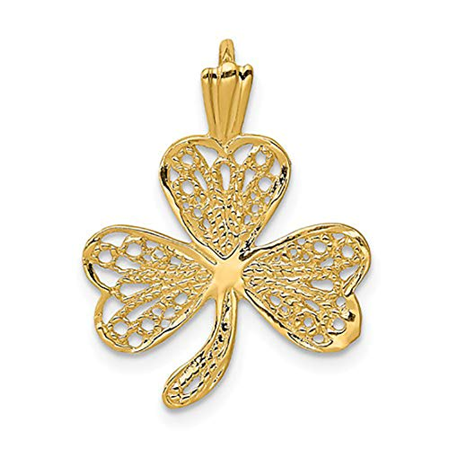 Bedrock Jewelry 14K Yellow Gold Filigree Shamrock Charm Pendant