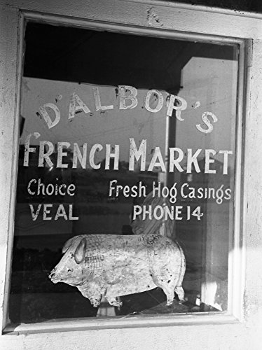 Store Window 1938 NdAlborS French Meat Market Window New Iberia Louisiana Photograph By Russell Lee November 1938 Poster Print by (24 x 36)