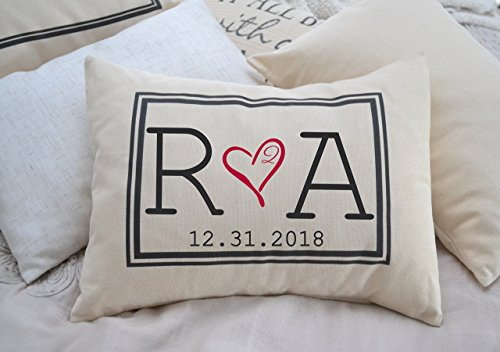 Personalized Pillow Two hearts 2 Hearts are one, with Initial Monogram and Date Second Anniversary Cotton gift 2nd anniversary Pillow (Monogram Heart)