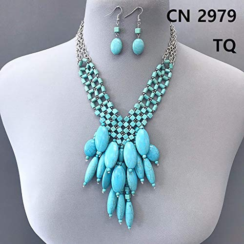 Silver Finished Beads Turquoise Stones Oval Tassels Fringe Necklace Earrings Set LL-386 (Oval Fringe Earrings)