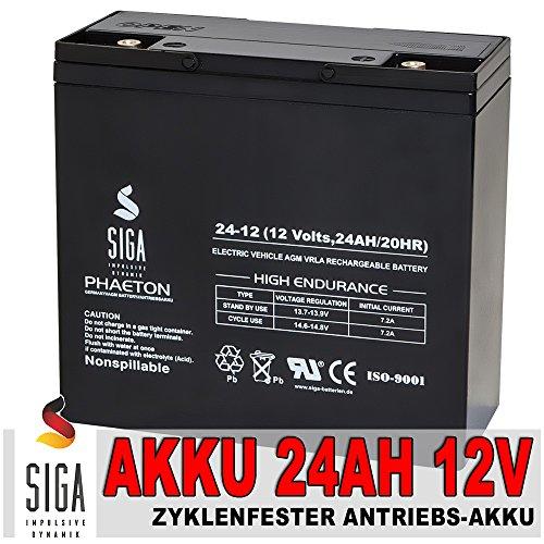 SIGA Batterien AGM Phaeton Deep Cycle (24000mAh, 12V) schwarz