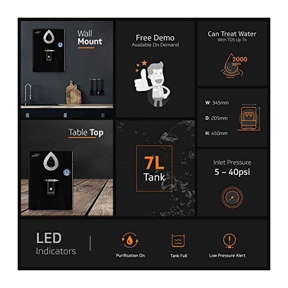 V-Guard Zenora RO+UV+MB 7 Litre Water Purifier With 8 Stage Purification (Black) 4
