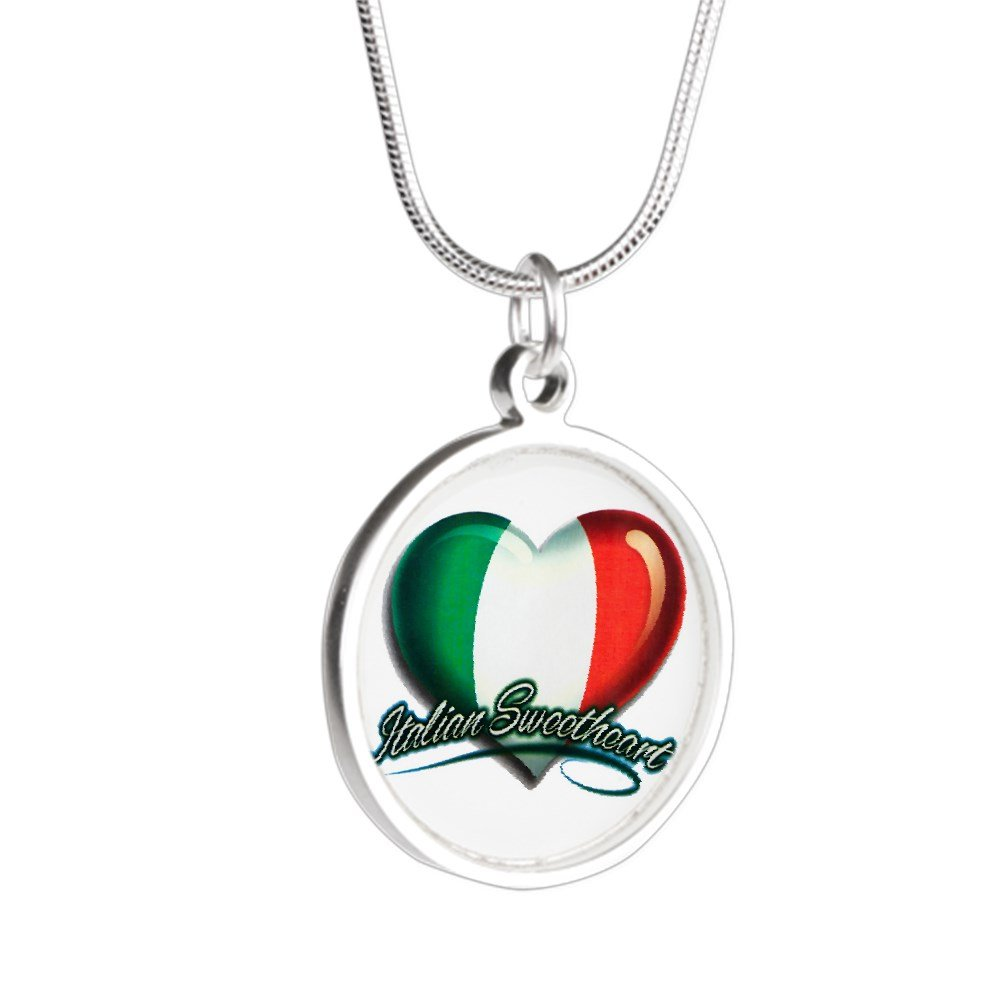 Royal Lion Silver Round Necklace Italian Sweetheart Italy Flag