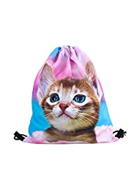Cat in Pink Clouds All-Over-Print Shelfies Drawstring Bag