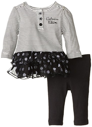 Calvin Klein Baby-Girls Newborn Stripes and Dots Tunic with Leggings, Bla, 6-9 Months