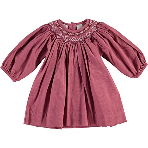 Carriage Boutique Girls Long Sleeve Bishop Dress with Smocked Purple Flowers