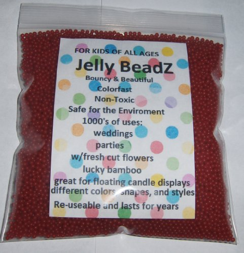 JellyBeadZ Brand 8oz -Almost 15,000 Water Bead Gel - BRIGHT PINK- Heat Sealed Bag- Water Pearls Gel Beads- Wedding & Event Centerpieces - Bright Pink