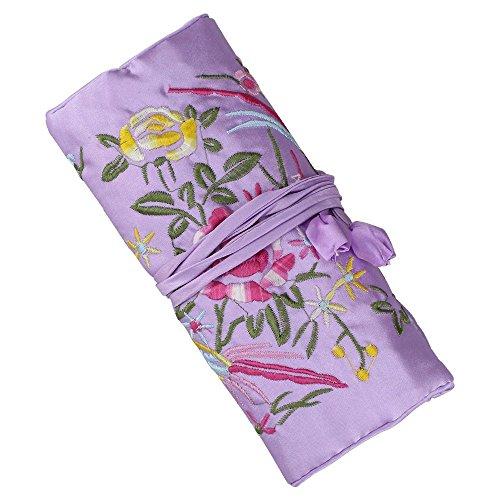 SuoSuo Jewelry Roll,Light Purple Travel Jewelry Roll Bag,Silk Embroidery Brocade Jewelry Organizer Case with Tie Close