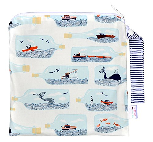 Small 9'' x 9''//TOP Rated Monkey Foot Designs Wet Bag//Diapers/Snacks/Gym/Swim (Hook, Line and Sinker) by Monkey Foot Designs