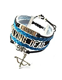 Cord Braided Skull Walking Dead Bracelet Cross Arrow Bow Charm Adjustable-5 Colors
