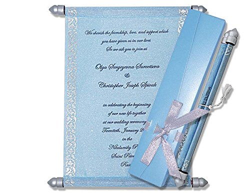Scroll Invitations, Scroll Wedding Invitations (10 pcs) (Blue) ()