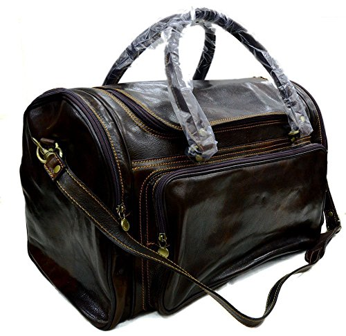 Mens leather duffle bag brown ladies shoulder bag travel bag luggage weekender carryon cabin bag gym leather bag