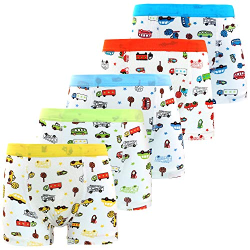 Boys'Boxer Briefs Car Trunk Bus Underwear Boyshort Hipster Kids Briefs 5 Pack 2-4 Years ()