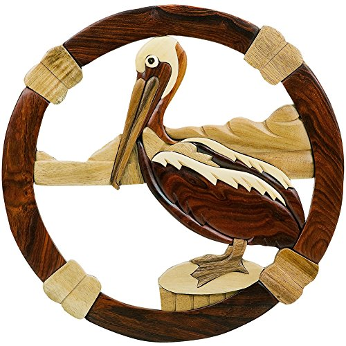 - Old Glory Round Pelican Wooden Wall Hanging