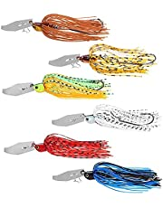 6 stycken fiske lockar jigger, simulering bete med självrenoverat blad, roterande anti-hängande nedre jiggängel