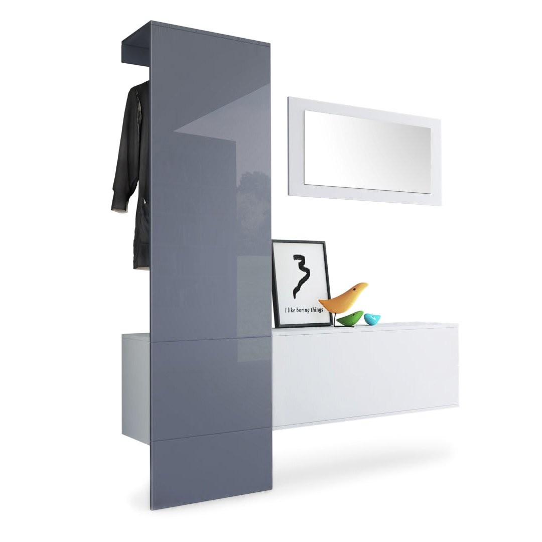Panel in Grey High Gloss Carlton Set 4 Vladon Wardrobe Hallway Furniture Coat Rack Carlton Set 5, Carcass in White matt Panel in White High Gloss
