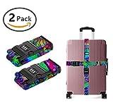 YEAHSPACE Adjustable Trippy Mushroom Personalized Men Women 3D Luggage Straps TSA 3-dial Combination Lock Heavy Duty 2-Pack