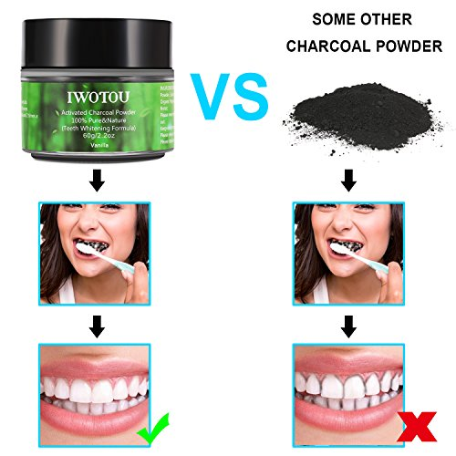 Iwotou Teeth Whitening Charcoal Powder, Natural Activated Charcoal Teeth Whitener of Organic Coconut Shells with vanilla flavor [UPGRADE Special Formula - EASIER To Rinse] (Vanilla)