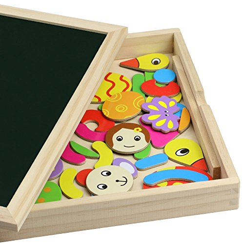 Wooden Educational Toys Magnetic Drawing Board Art Easel Animals Jigsaw Puzzles Dry Erase Double Side Magnetic Board Game Toys Gift for Kids Toddlers, Classic Theme and Dinosaur Theme, Random Delivery by Fajiabao (Image #5)