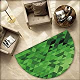 Green Semicircular Cushion Triangles in Green Shades Abstract Modern Mosaic Pattern with Fractal Look Entry Door Mat H 55.1'' xD 82.6'' Dark Green Pale Green