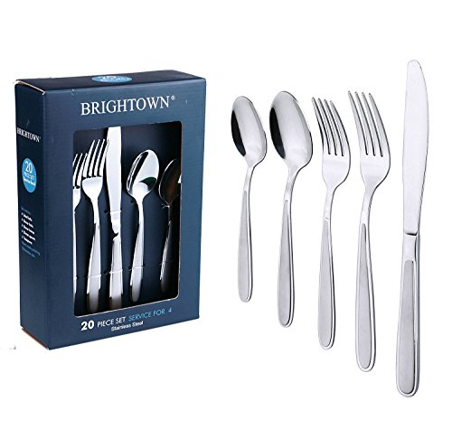 Steel Flatware Silverware Set, Service for 4, Mirror Polished, 20-Pieces Cutlery Set Tableware Dinnerware-Includes Knife/Fork/Spoon, Heat Resistant (Polish Stainless Steel Mirror Finish)