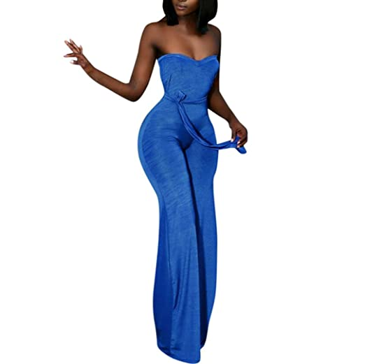 e57fd13fe03f Minisoya Women Strapless Off Shoulder Backless Romper Playsuit Long Pants  Bandage Casual Club Party Wide Leg