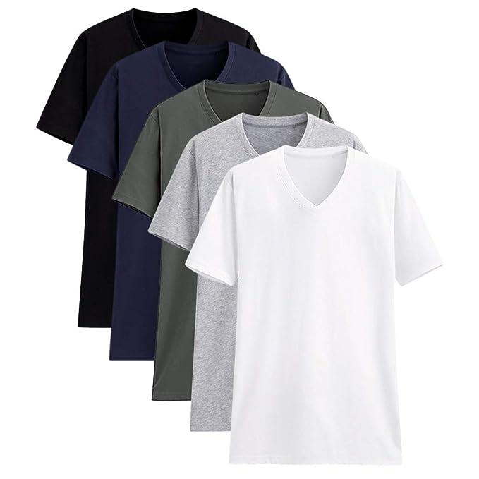721c046cc0203 Camisetas para Hombre Manga Corta Cuello en V Algodón Camisetas Básicas de  Colores Diferentes Paquete de 2 o de 5  Amazon.es  Ropa y accesorios
