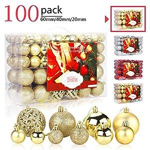 Aitsite 100 Pack Christmas Tree Ornaments Set Mini Shatterproof Holiday Ornaments Balls for Christmas Decorations (Gold)