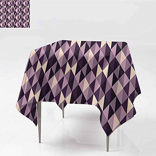 Oil-Proof and Leak-Proof Tablecloth Geometric Abstract Stylized Triangles with Dark and Pale Color Shades Ivory Dark Purple Lilac Plum Soft and Smooth Surface W70 xL76