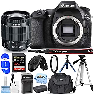 Canon EOS 80D DSLR Camera with EF-S 18-55mm Lens 1263C005 Pro Bundle Includes: Extra Battery and Charger, 32GB SD, Tripods, UV Filter, Gadget Bag and More [International Version]