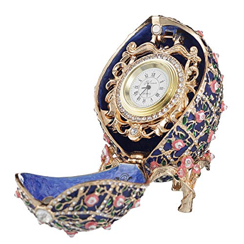 danila-souvenirs Russian Faberge Style Rose Trellis Egg/Trinket Jewel Box with Clock 3.8'' Blue