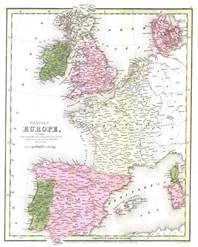Historic Map | 1841 Western Europe | Bradford, T.G. and S.G. ()