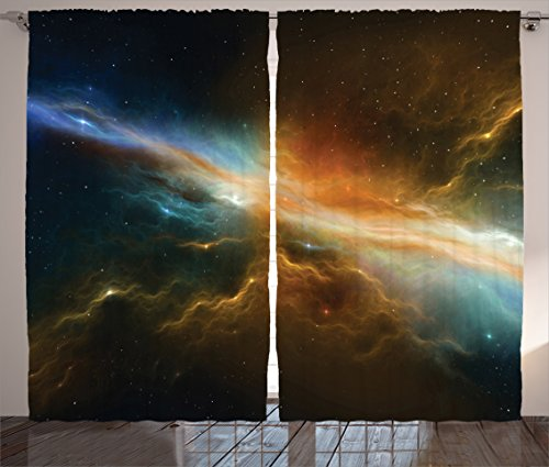(Ambesonne Outer Space Decor Collection, Astronomy Celestial Meteorite Supernova Dark Mysterious Space Picture, Living Room Bedroom Curtain 2 Panels Set, 108 X 90 Inches, Dark Turquoise Yellow Blue)