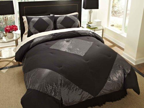 Divatex 75 GSM Metallic Printed Bling Microfiber Dot King Mini Comforter Set, Black/Silver